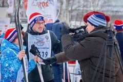 NIZHNY NOVGOROD, RUSSIA - FEBRUARY 11, 2017: Ski Competition Russia 2017. Winter sports. Family championship. Interview. Camera Sony Royalty Free Stock Photos