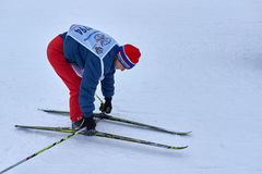 NIZHNY NOVGOROD, RUSSIA - FEBRUARY 11, 2017: Ski Competition Russia 2017. Winter sports. Family championship. Skier skiing takes off Stock Images