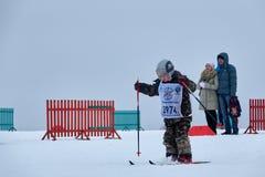 NIZHNY NOVGOROD, RUSSIA - FEBRUARY 11, 2017: Ski Competition Russia 2017. Winter sports. Family championship. Small boy Royalty Free Stock Image