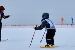 NIZHNY NOVGOROD, RUSSIA - FEBRUARY 11, 2017: Ski Competition Russia 2017. Winter sports. Family championship. Small boy Stock Image