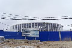 nizhny novgorod Russia - Grudzień 1 2017 Budowa stadium w Nizhny Novgorod FIFA puchar świata 2018 Zdjęcie Royalty Free