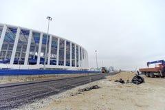nizhny novgorod Russia - Grudzień 1 2017 Osiągnięcie terytorium blisko stadionu futbolowego w Nizhny Novgorod Obrazy Stock