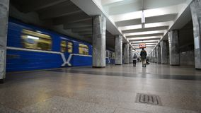 Nizhny Novgorod, RUSSIA. 02.11.2015. The interior of the subway station Avtozavodskaya stock footage