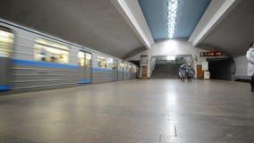 Nizhny Novgorod, RUSSIA - 02.11.2015. The interior. Of the subway station Chkalovskaya stock footage