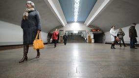 Nizhny Novgorod, RUSSIA - 02.11.2015. The interior. Of the subway station Chkalovskaya stock video