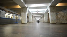 Nizhny Novgorod, RUSSIA. 02.11.2015. The interior of the subway station Dvigatel Revolutsii stock footage