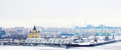 Nizhny Novgorod, Russia. January 03: Cityscape of  on January 03, 2015. It is the fourth largest city in Russia, ranking after Moscow, St. Petersburg, and Royalty Free Stock Photos