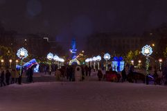 Festive celebrations in connection with the New Year on Gorky Square. stock photo
