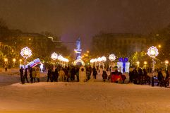 Festive celebrations in connection with the New Year on Gorky Square. Nizhny Novgorod, Russia January 3, 2018: Festive celebrations in connection with the New stock image