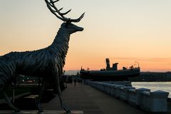 Nizhny Novgorod, Russia July 25, 2017: metal sculpture of a deer on the embankment. The symbol of the city Royalty Free Stock Photos