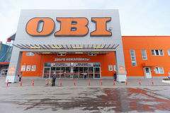 Nizhny Novgorod, Russia. - July 8.2016. OBI store sells tools and materials with parked cars Royalty Free Stock Photography