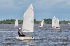 NIZHNY NOVGOROD, RUSSIA - JULY 24, 2017: sailing dinghies on the river.  Stock Photo