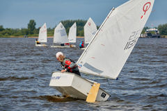 NIZHNY NOVGOROD, RUSSIA - JULY 24, 2017: sailing dinghies on the river.  Royalty Free Stock Photography