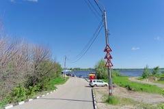 Nizhny Novgorod, Russia. - June 15.2018. Ferry crossing Nizhny Novgorod-Bor. Nizhny Novgorod, Russia. - June 15.2018 Ferry crossing Nizhny Novgorod-Bor Stock Photography