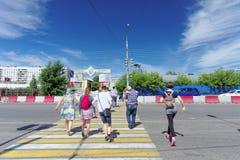Nizhny Novgorod, Russia. - June 30.2016. Pedestrian crossing across Lenin Square opposite Nizhny Novgorod trade fairs Stock Photo