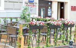 Summer terrace of the restaurant in the park royalty free stock photo