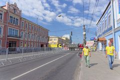 Nizhny Novgorod, Russia. - June 18.2018. Swedish fans go to the match Sweden - South Korea World Cup 2018 on the road. With a blocked traffic stock photo