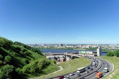Nizhny Novgorod, Russia. - June 28.2016. View from the hill on the descent to the Metro bridge. Stock Photos