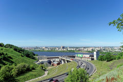 Nizhny Novgorod, Russia. - June 28.2016. View from the hill on the descent to the Metro bridge. Stock Images