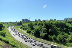 Nizhny Novgorod, Russia. - June 28.2016. View from the hill on the descent to the Metro bridge. Royalty Free Stock Photo