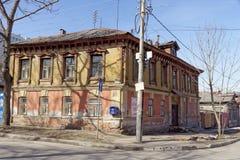 nizhny novgorod Russia - Kwiecień 10 2017 Stary drewniany dom na Malaya Yamskaya 25 Obrazy Royalty Free