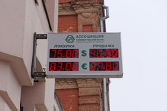 nizhny novgorod Russia - Luty 23 2016 Tablicy wyników wymiana Skojarzenie Commercial Bank Zdjęcia Stock