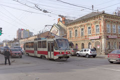 Nizhny Novgorod, Russia. - March 25.2016. City tram route number 1 street Ilinskaya. Stock Photos