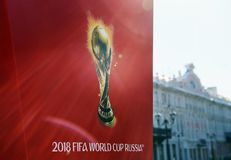 Symbolism the FIFA World Cup 2018 on a red background. Royalty Free Stock Photos