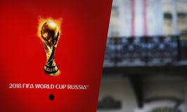 Symbolism the FIFA World Cup 2018 on a red background. Royalty Free Stock Photography