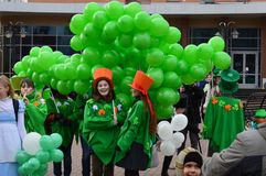 Unidentified people perform at the St. Patrick`s day on March 17, 2014 in Russian royalty free stock photography