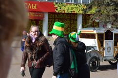 Unidentified people perform at the St. Patrick`s day on March 17, 2014 in Russian stock photography