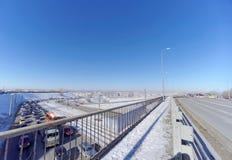Nizhny Novgorod, Russia. - March 29.2018. View of the descent towards the Oka bridge and the metro bridge. Nizhny Novgorod, Russia. - March 29.2018. View of the Stock Photography