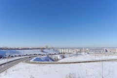 Nizhny Novgorod, Russia. - March 29.2018. View of the descent towards the Oka bridge . The photo is made by a wide-angle lens with distortions of proportions Stock Photography
