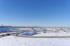Nizhny Novgorod, Russia. - March 29.2018. View of the descent towards the Oka bridge . The photo is made by a wide-angle lens with distortions of proportions Stock Images