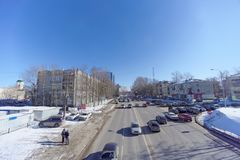 Nizhny Novgorod, Russia. - March 29.2018. View from the pedestrian bridge to the Oka Descent in the direction up. The photo is made by a wide-angle lens with Stock Photography