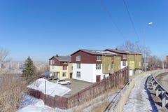 Nizhny Novgorod russia - Mars 29 2018 Sale av radhus i huset på Barminskaya gata 27 Arkivfoton