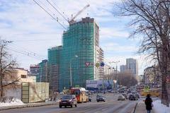 nizhny novgorod Russia - Marzec 23 2018 Budowa mieszkaniowy kompleksu dom na wolności lokalizować Obraz Stock