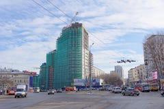 nizhny novgorod Russia - Marzec 23 2018 Budowa mieszkaniowy kompleksu dom na wolności lokalizować Zdjęcia Stock