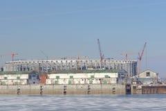 nizhny novgorod Russia - Marzec 14 2017 Budowa stadion futbolowy Zdjęcie Royalty Free