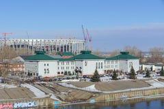 nizhny novgorod Russia - Marzec 14 2017 Katedra Aleksander Nevsky i stadion futbolowy budowa Zdjęcie Royalty Free