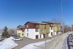 Nizhny Novgorod, Russia - 29 marzo 2018 Vendita delle case urbane nella casa sulla via 27 di Barminskaya Immagini Stock Libere da Diritti