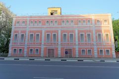 Nizhny Novgorod, Russia. - May 22.2018. Completion of preparations for the 2018 FIFA World Cup in Russia - some houses could not r. Epair facades and simply hung royalty free stock photos
