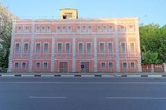 Nizhny Novgorod, Russia. - May 22.2018. Completion of preparations for the 2018 FIFA World Cup in Russia - some houses could not r. Epair facades and simply hung royalty free stock photography