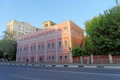Nizhny Novgorod, Russia. - May 22.2018. Completion of preparations for the 2018 FIFA World Cup in Russia - some houses could not r. Epair facades and simply hung Royalty Free Stock Image