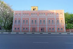 Nizhny Novgorod, Russia. - May 22.2018. Completion of preparations for the 2018 FIFA World Cup in Russia - some houses could not r. Epair facades and simply hung Royalty Free Stock Photo
