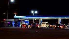 NIZHNY NOVGOROD, RUSSIA - MAY 12, 2017: Gas station at night. Time lapse stock video footage