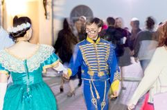Night of museums festival. The yard of the mansion of the merchant Rukavishnikov. People perform Spanish waltz. Costume show. stock image
