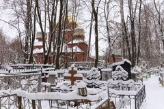 NIZHNY NOVGOROD, RUSSIA - NOVEMBER 07, 2016: The Orthodox Old Believer Church of the Assumption of the Mother of God. At Red Bugrovsky Cemetery. The church was Royalty Free Stock Photography