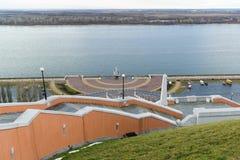 Nizhny Novgorod, Russia - November 11, 2015. View of Volga river from a viewing platform near the stairs Chkalov Stock Photos