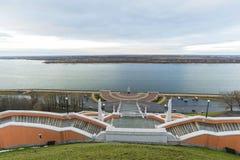 Nizhny Novgorod, Russia - November 11, 2015. View of Volga river from a viewing platform near the stairs Chkalov Royalty Free Stock Photography